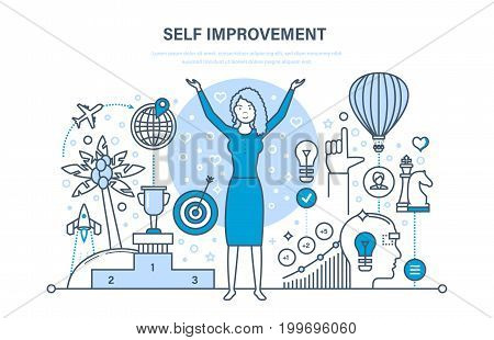 Self improvement. Self development, personal growth, emotional intelligence. Education, leadership skills, successful person, vision, motivation. Illustration thin line design of vector doodles