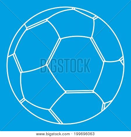 Soccer ball icon blue outline style isolated vector illustration. Thin line sign