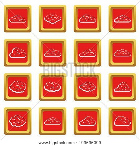 Clouds icons set in red color isolated vector illustration for web and any design