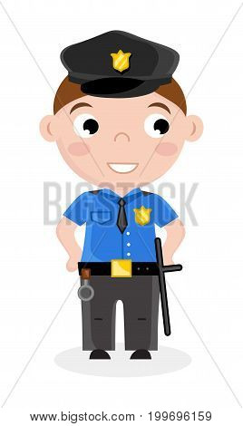 Smiling little boy in policeman uniform. Professional occupation concept, happy childhood, emotion kid cartoon character isolated on white background vector illustration.