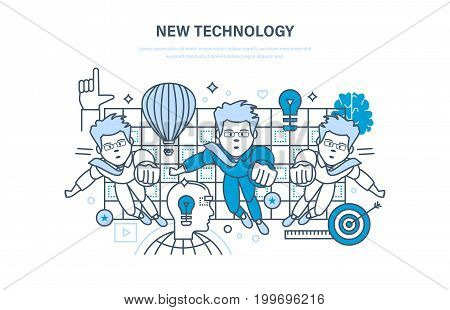 New technology concept. Innovation research, imagination, brain training, marketing, learning. Education, online courses, start up, training. Illustration thin line design of vector doodles