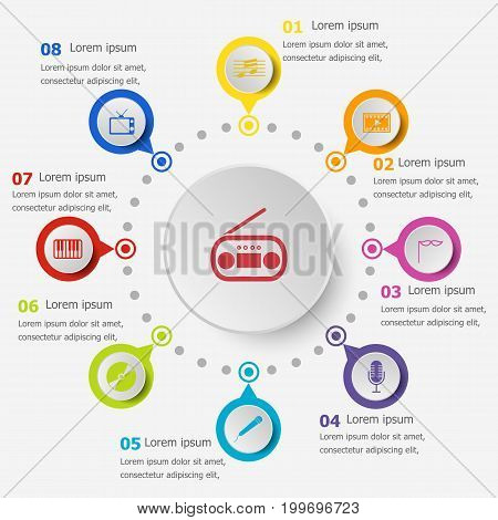 Infographic template with entertainment icons, stock vector