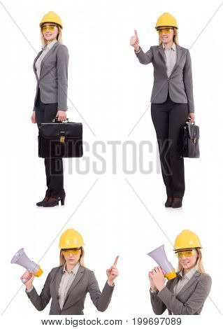 Woman architect isolated on white