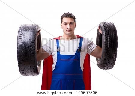 Superhero man with tyre isolated white background
