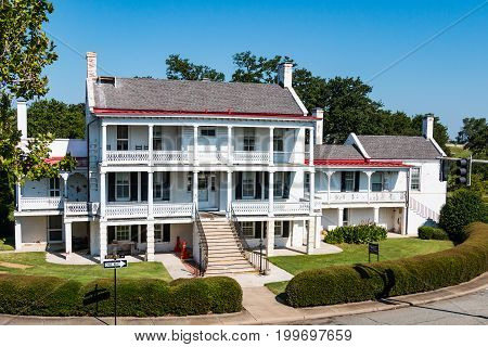 HAMPTON, VIRGINIA - JULY 9, 2017:  Quarters No. 1 was the first permanent structure on Fort Monroe.  President Abraham Lincoln stayed there in 1862 while planning the Union attack on Norfolk, VA.