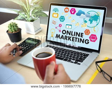 Online Marketing Man On Computer Advertisement Social On Line Market Word  Startup Marketing Online