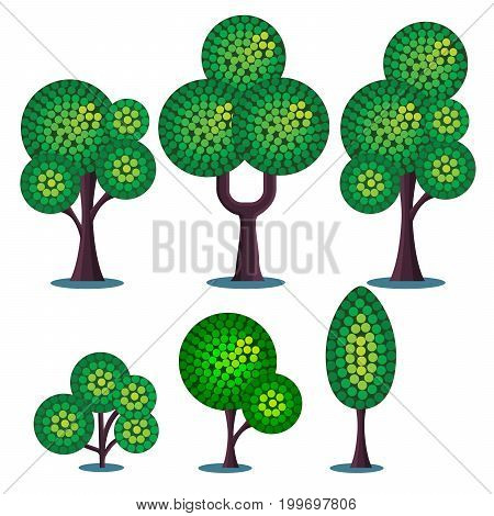 Set of stylized vector plants. Trees and shrubs.