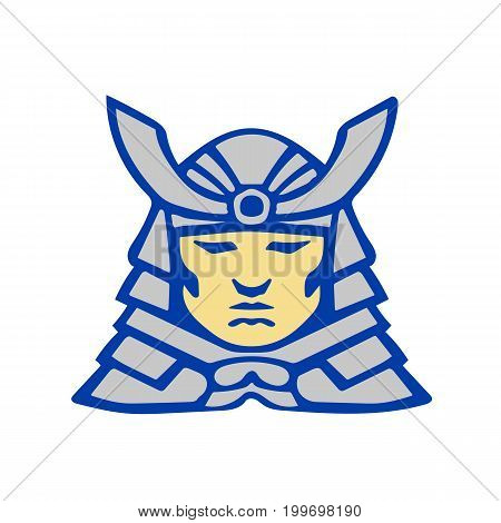 Illustration of a bushido samurai head wearing armor helmet viewed from front set on isolated white background done in retro style.