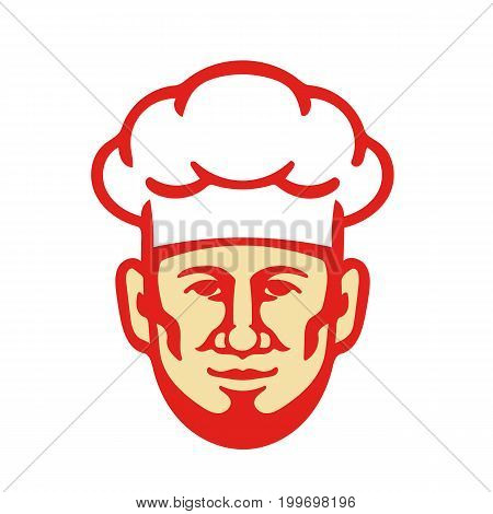 Illustration of a bearded chef cook baker head facing front wearing toque hat set on isolated white background done in retro style.