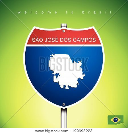 An Sign Road America Style with state of Brazil with green background and message SAO JOSE DOS CAMPOS and map vector art image illustration