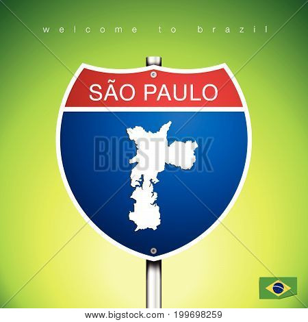 An Sign Road America Style with state of Brazil with green background and message SAO PAULO and map vector art image illustration