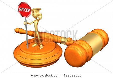 Traffic Court Concept The Original 3D Character Illustration Police Officer With A Stop Sign