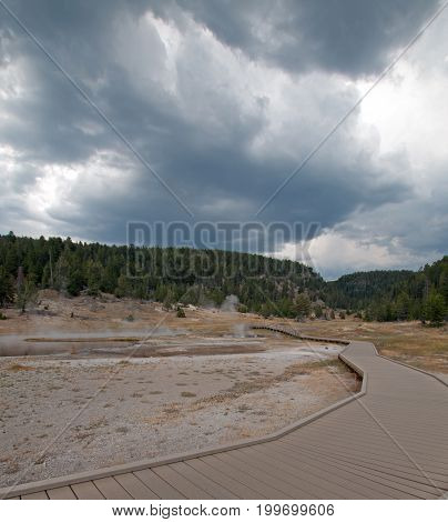 Elevated boardwalk leading to Firehole Lake in the Lower Geyser Basin in Yellowstone National Park in Wyoming United States