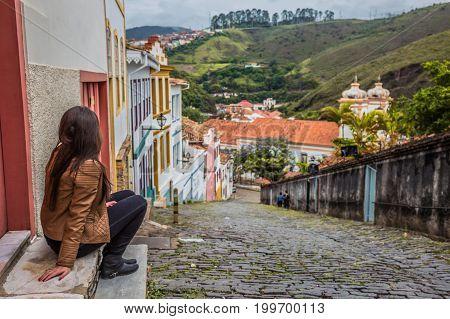 Girl at the famous historical town Ouro Preto Minas Gerais Brazil
