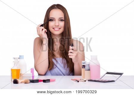 Young woman in beauty make-up isolated on white