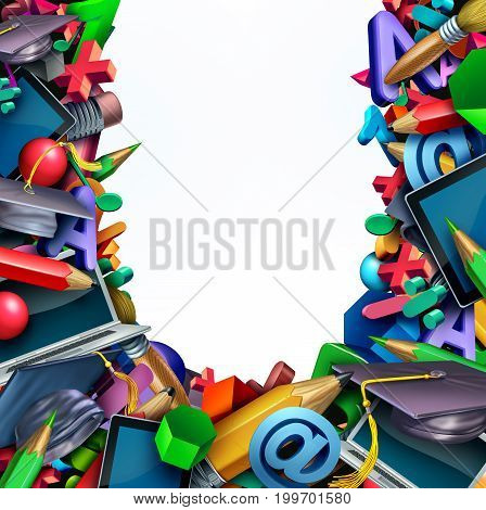 School background and learning tools and supplies as a computer tablet pencils and learning icons shaped in a border frame with white background copy space or text area as a 3D illustration.