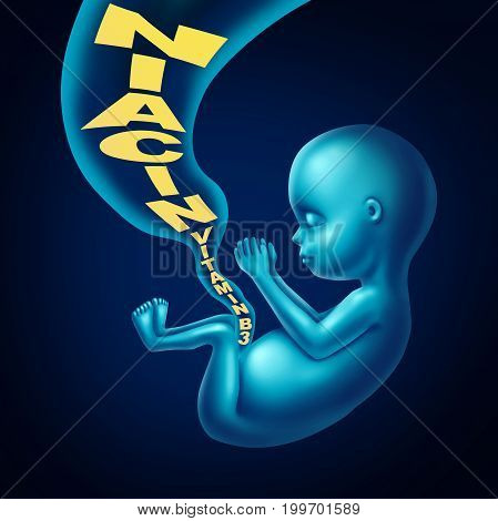 Niacin vitamin b3 pregnancy health supplement multivitamin to prevent birth defects and miscarriages as a fetus inside a pregnant mother recieving the healthy supplement through the umbilicle cord in a 3D illustration style.