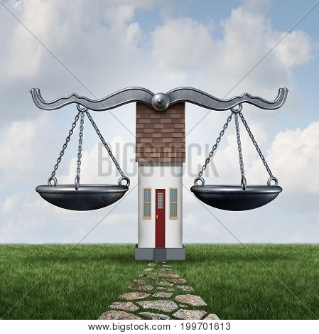 Home law and house laws legal housing concept as a justice scale with a residence as a construction and building code symbol with 3D illustration elements.