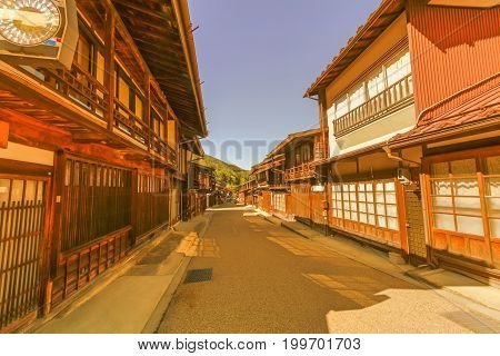 Country road at Narai is a small town and the old town in soft focus provided a pleasant walk through about a kilometre of well preserved buildings in Nagano Prefecture Japan.
