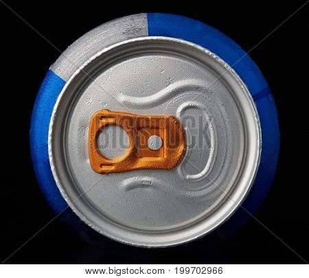 Above view of metal can with dew isolated on black background