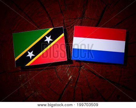 Saint Kitts And Nevis Flag With Dutch Flag On A Tree Stump Isolated