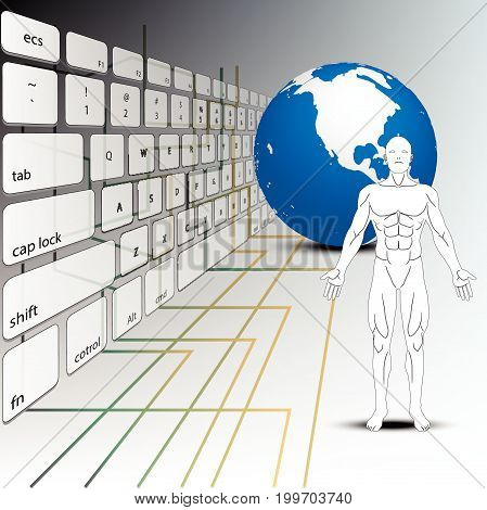 anatomy human and earth concept technology and computer