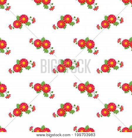 Seamless Background Image Colorful Watercolor Texture Botanic Flower Leaf Plant Asteraceae Red Daisy