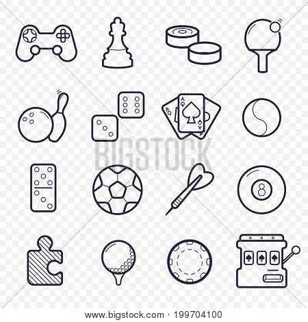Games, videogames linear icons. Ping-pong, chess, golf, billiards, darts, gambling, and other leisure activities. Logic, gambling, sports thin line icons.