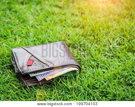 Lost leather wallet with money on green grass background lost money concept copy space on top.
