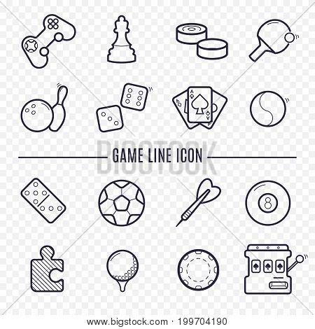 Games, videogames linear icons. Ping-pong, chess, golf, billiards, darts, gambling, bowling and other leisure activities. Logic, gambling, sports thin line icons.