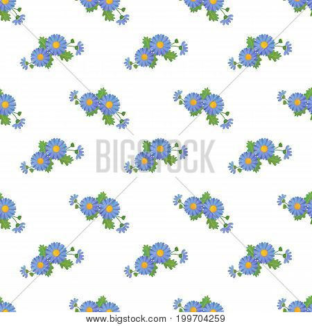Seamless Background Image Colorful Watercolor Texture Botanic Flower Leaf Plant Asteraceae Blue Dais