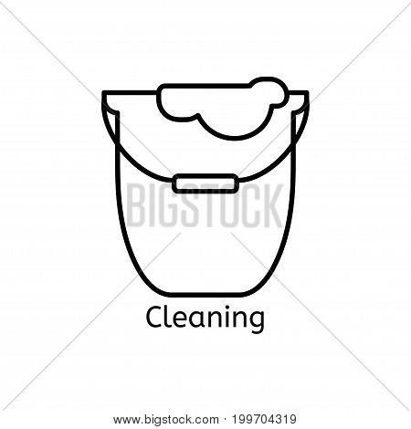 Cleaning simple line icon. Wash thin linear signs. Washing floors simple concept for websites, infographic, mobile app.