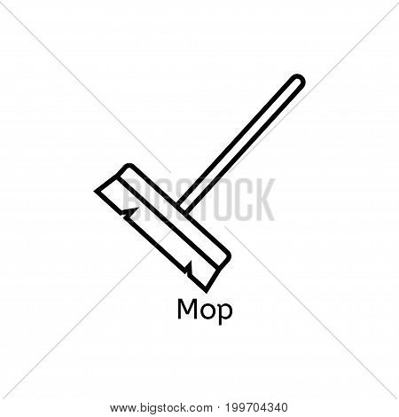 Mop simple line icon. Floor cleaning thin linear signs. Cleaning simple concept for websites, infographic, mobile app.