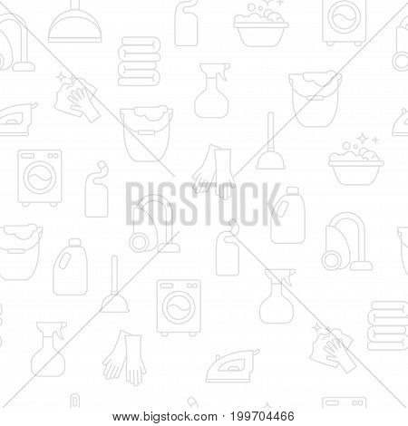 Cleaning, wash line icons. Washing machine, sponge, mop, iron, vacuum cleaner, shovel clining background. Order in the house thin linear backdrop for cleaning service.