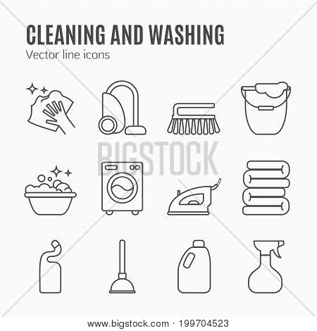 Clean, wash line icons. Washing machine, sponge, mop, iron, vacuum cleaner, shovel and other cleaning icon. Order in the house thin linear signs for cleaning service.