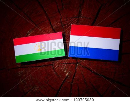 Tajikistan Flag With Dutch Flag On A Tree Stump Isolated