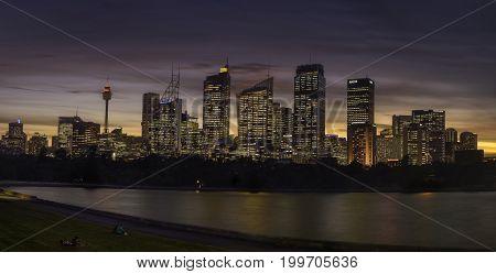 SYDNEY AUSTRALIA - August 14 2017: View of Sydney City across farm cove. Sydney is Australia's largest city and a popular tourist destination.