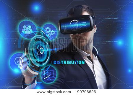 Business Technology Internet and network concept. Young businessman working in virtual reality glasses sees the inscription: Distribution