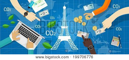 Paris agreement climate accord carbon emission reduction global vector
