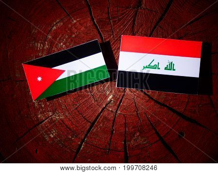 Jordanian Flag With Iraqi Flag On A Tree Stump Isolated