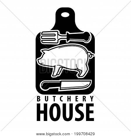 Butchery house logotype with pig outline, big fork and sharp knife on black cutting board with thick sign underneath isolated vector illustration on white background. Shop with fresh meat emblem.