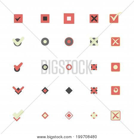 Colorful icons of check mark, thick cross and small filled circle inside cells that shows marking choice among other variants isolated cartoon flat vector illustrations set on white background.