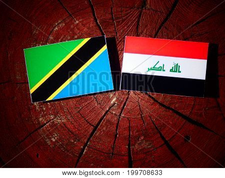 Tanzanian Flag With Iraqi Flag On A Tree Stump Isolated