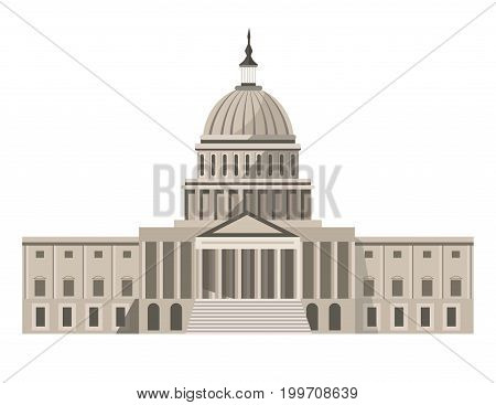 Famous United States Capitol with rounded roof and sharp spire on top isolated cartoon vector illustration on white background. Main building of Washington and residence of American congress.