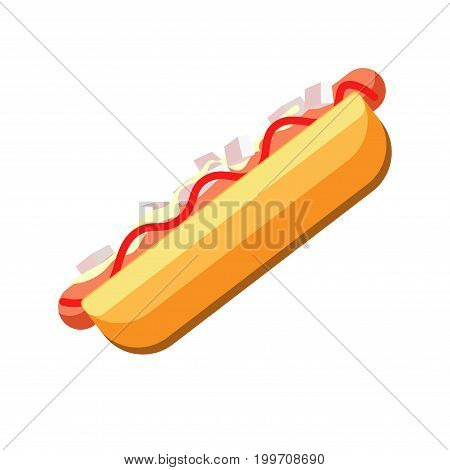 Fresh hot dog with soft bun, tender mayonnaise, spicy mustard and delicious ketchup isolated cartoon flat vector illustration on white background. Nutritious and fat street fast food with sauces.