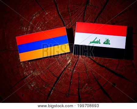 Armenian Flag With Iraqi Flag On A Tree Stump Isolated