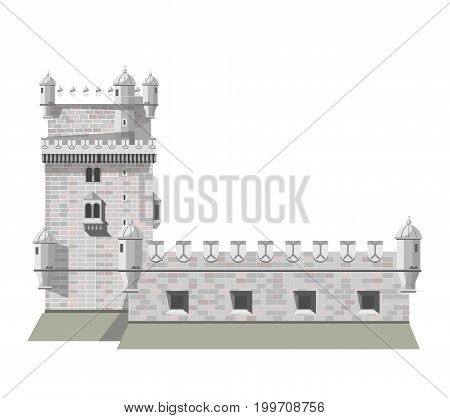 Antique brick European castle with tall tower and solid walls isolated cartoon flat vector illustration on white background. Architectural creation for royalty to live from medieval century.