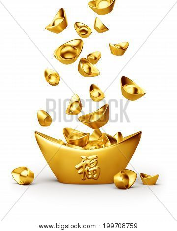 Chinese gold sycee ( yuanbao ) isolated on white background Chinese calligraphy