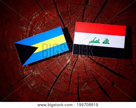 Bahamas Flag With Iraqi Flag On A Tree Stump Isolated