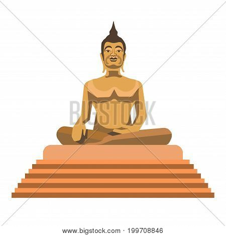 Big gold Buddha statue with stairs isolated vector illustration on white background. Male figure that sits in lotus pose on stand. Largest golden statue in world. Great Indian religious monument.